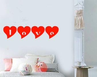 Wall Vinyl Decal Love Words in Hearts Symbols Of Love Teenage Room Modern Sketch Home Art Decor (#1171dz)