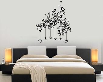 Wall Decal Tree Branch Love Romantic Heart Vinyl Sticker Mural Art 1431dz