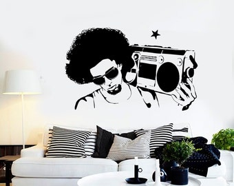 Wall Vinyl Music Retro Boombox Guaranteed Quality Decal Mural Art 1553dz