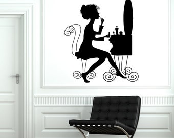 Wall Vinyl Decal Make Up Hair Beauty Salon Barbershop Handsome Girl Decor 1909di