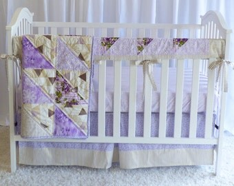 SHIPS TOMORROW! SALE - 3 piece set - Purple and Gold Roses Bedding Set, roses, modern quilt, modern nursery, glitzy bedding, rail guard,