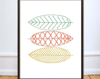 Scandinavian Leaf Pattern Wall Art Instant Download Printable Colourful Digital Download Home Office Decor Pattern Modern Print Poster