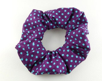 Scrunchie, scrunchies, tie hair, dot purple and light teal