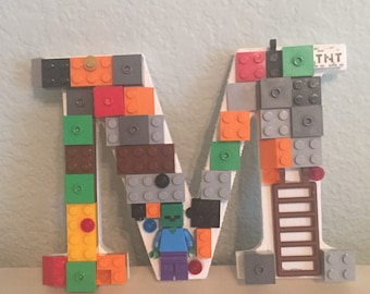 Letter M with Minecraft LEGO® bricks