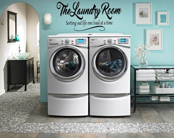 The Laundry Room - Sorting Out Life One Load At A Time // Wall Decal // Laundry Room Sign // Wall Decor // Wall Cling // Wall Sticker