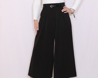 Black culottes High waist Wide leg pants Wool pants with pockets