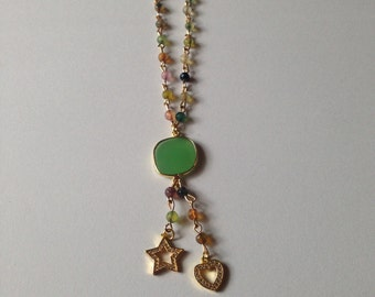 Multi Colored Gemstone Necklace and Connector with Hanging CZ Crystal Heart and Star