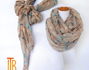 Infinity Beige Scarf, Dragonfly Print Scarf, Spring Summer Shawl Scarves, Fashion Women's Scarf, Bohemian Boho Scarf, Gifts For Her