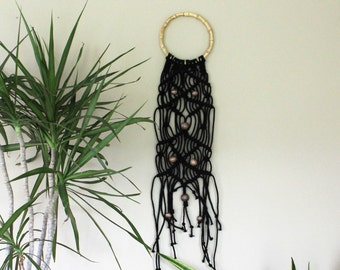 Traditional Black Macrame Cord Wall Hanging