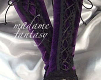 XX Long purple violet velour lace up fingerless gloves lace cuffs / arm warmers goth