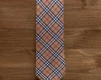 men's necktie - beige black & white plaid