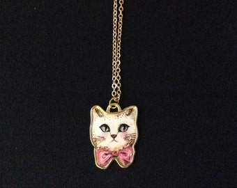 Bowtie Kitty Charm Necklace and Earrings