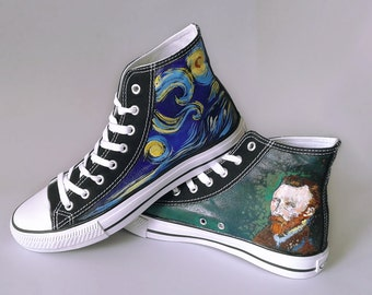 Hand painted shoes: Starry Night van Gogh sneakers, birthday gift, van Gogh shoes, hand painted shoes, chucks, Converse/Unbranded