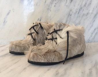 Fur Shearling Chukka Booties, 70's Capitol Made in Canada Fur Eskimo Boots, Reindeer Fur Moc, Deadstock Vintage Fur Shearling Apres Ski