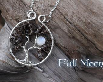 Full Moon Tree of Life Pendant // Smoky Quartz Rainbow Moonstone Tree Necklace Silver Tree of Life