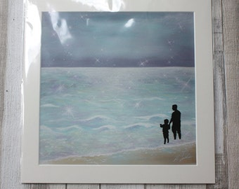 Father and Son Giclee archival quality Print on acid free textured paper.