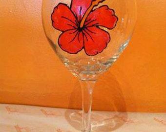 Hibisus Handpainted Wine Glass