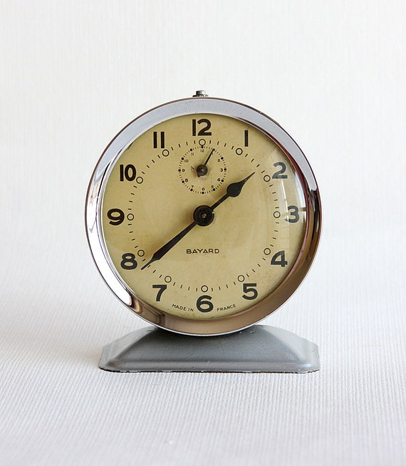 Vintage alarm clock French Bayard 1950's wind up desk clock Antique Collectible mechanical working metal clock Industrial Rustic home decor