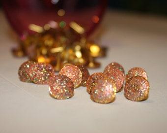 Pink Orange Glitter Push Pin Thumb Tacks