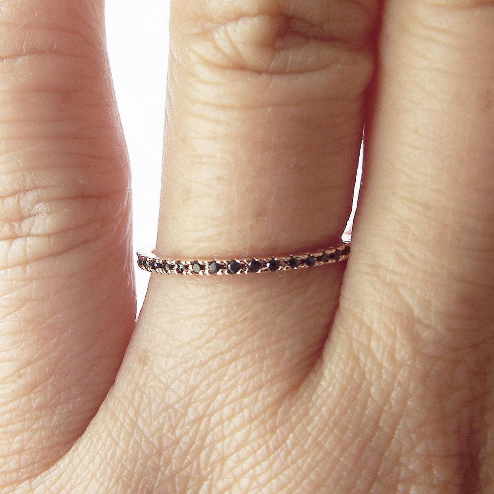 Rose Gold Ultra thin Black diamond 1 mm Eternity Ring CZ black diamond Full Eternity Micro Pave Rose Gold plated stacking Band