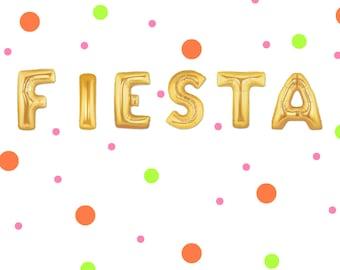 """16"""" FIESTA balloons/banner. Fiesta balloon. Cinco de mayo party.  Cinco de mayo decor. Taco Party. Fiesta party. Taco night party. Fiesta"""