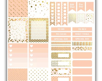 Pink and gold weekly stickers kit | Themed weekly kit | Erin Condren vertical theme weekly kit | Weekly planner stickers