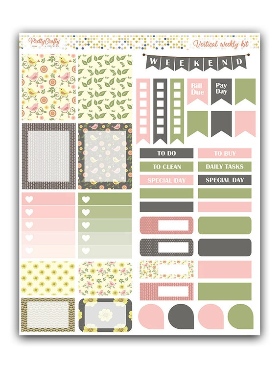 Spring Birds weekly stickers kit | Themed weekly kit | Erin Condren vertical theme weekly kit | Weekly planner stickers