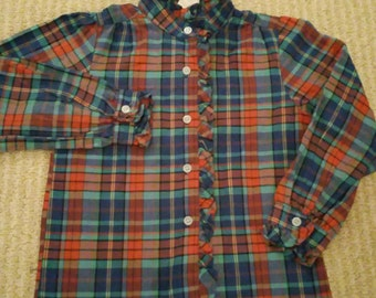 Vintage Sugar time plaid ruffle blouse 5