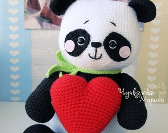 """Crochet toy pattern """"Panda in Love"""" PDF"""