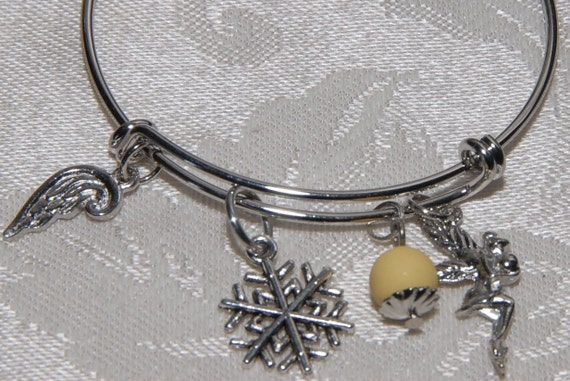 Adjustable Wire Bangle Charm Bracelet. Popular Style. You Design it! Choose Charms. . . 3 Charms and 1 Bead for Essential Oil Aromatherapy.