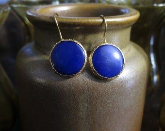 Blue Agate Brass Earrings