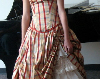 silk plaid corset and skirt, silk gown with lace peek-a-boo flounces