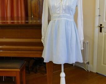 1960s Style Baby Doll Pale Blue Mini Dress. Gunne Sax Label.