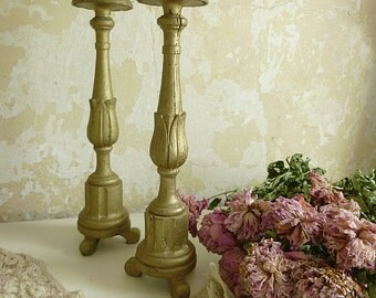 Two wonderful antique altar candlesticks, church candlesticks, floor candleholder, large candlesticks, found in France....CHARMANT!