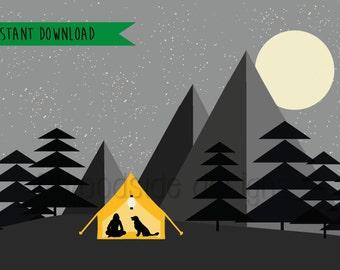 Camping Print, DIGITAL DOWNLOAD, Night Sky, Starry Mountain, Wild Camp, Wilderness, Printable Art, Adventures, Wanderlust, Woodland Nursery