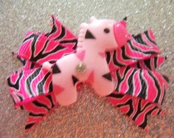Mini Boutique Dog Bow~Light Pink Zebra~Animal Print~Girl Bow~Bands Barrette Clip~Maltese, Yorkie, Shih-Tzu