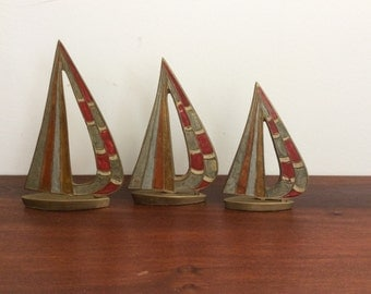 Brass Sailboat Trio-Vintage Brass Sailboat Statues