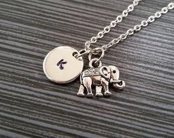 Silver Elephant Necklace - Elephant Charm Necklace - Personalized Necklace - Custom Gift - Initial Necklace - Elephant Totem Charm