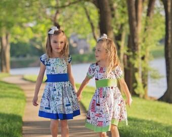 Big Sister Little Sister Dresses, Paris dress, Paris peasant dress, Twirly skirt, Green dress, Summer dress, Girl's dress,  Blue dress