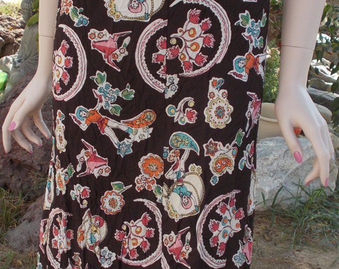 Vintage Country Western Cowgirl Cow Brown Pink Rayon Floral Flowers Lasso Print Womens Knee Length Elastic Waist Skirt