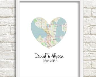 Personalized Wedding Art - Heart Map Print