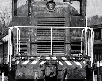 Vintage Train Photograph, Train Photography, Steam Train, Black and White Art, Train Machinery, Industrial Art, Wall Art, Rustic Decor