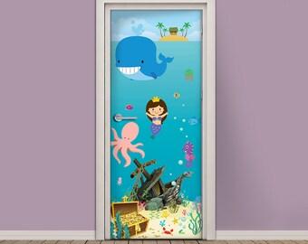 Kids Door Sticker   Self Adhesive Vinyl Wallpaper Door Wrap   Underwater  World With Mermaid