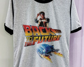 Back to the future Shirt Movie Legend Short Sleeve Two Tone White Grey Gray Tee Clothing