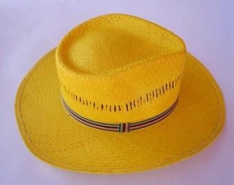 Yellow Straw Hat, Summer Straw Hat, Sun Hat, Panama Hat, Hand-Woven Hat, Chapeau en paille, Sombrero de junco