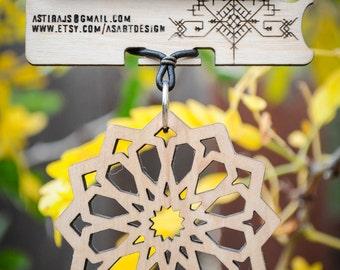 Simple Square Rose Necklace - Laser Cut Maple
