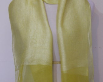 Yellow, Hand Dyed Scarf, Organza Scarf, Silk Scarf, Woman's Scarf, Mother's Day Gifts