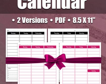 Weekly Calendar Pages Planner Spread | Great For DIY Planner, Business Planner, Printable Planner Pages, PDF, ARC, Binder