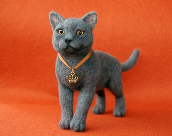 Needle Felted Realistic British Cat. Needle Felted Animal. Cat soft sculpture.