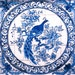 Magnificent Portuguese hand painted blue and white ceramic tile peacocok mural backsplash